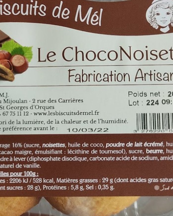 Biscuit Choco Noisette